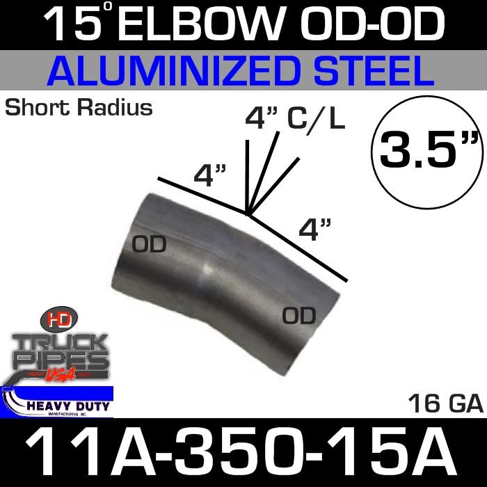 15 Degree Short Radius Exhaust Elbow 3.5