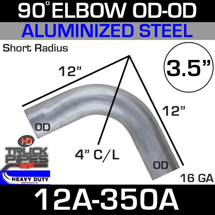 90 Degree Short Radius Exhaust Elbow 3.5