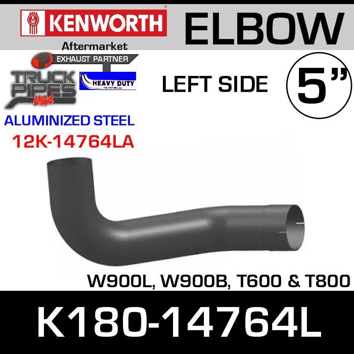 Kenworth W900/T600 Aluminized LEFT Side Exhaust Elbow K180-14764