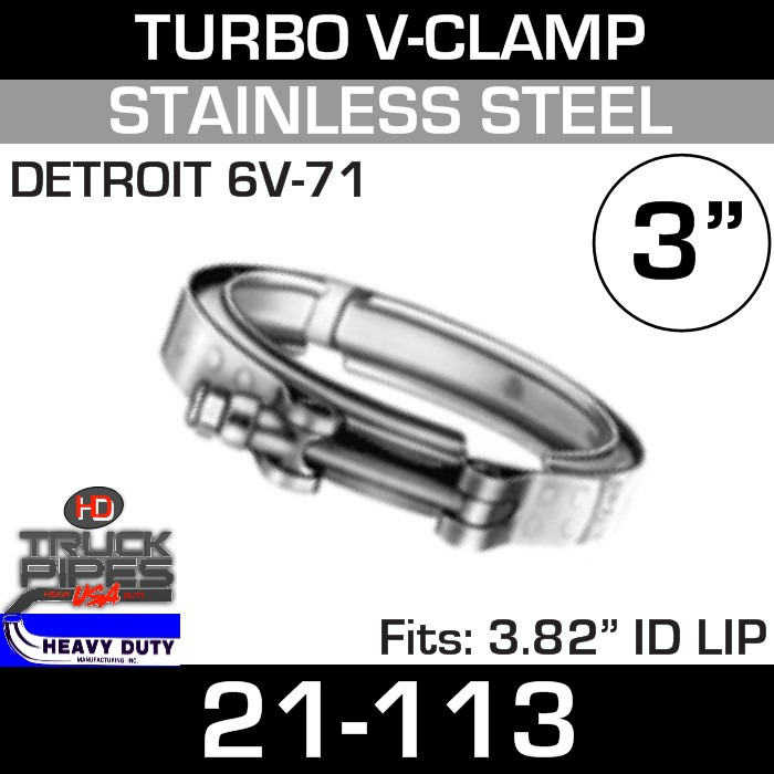 Turbo V-Clamp for DETROIT 6V-71 with 3.82