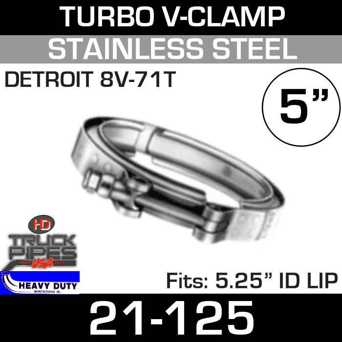 Turbo V-Clamp for Mack/Detroit 8V-71T with 5.25
