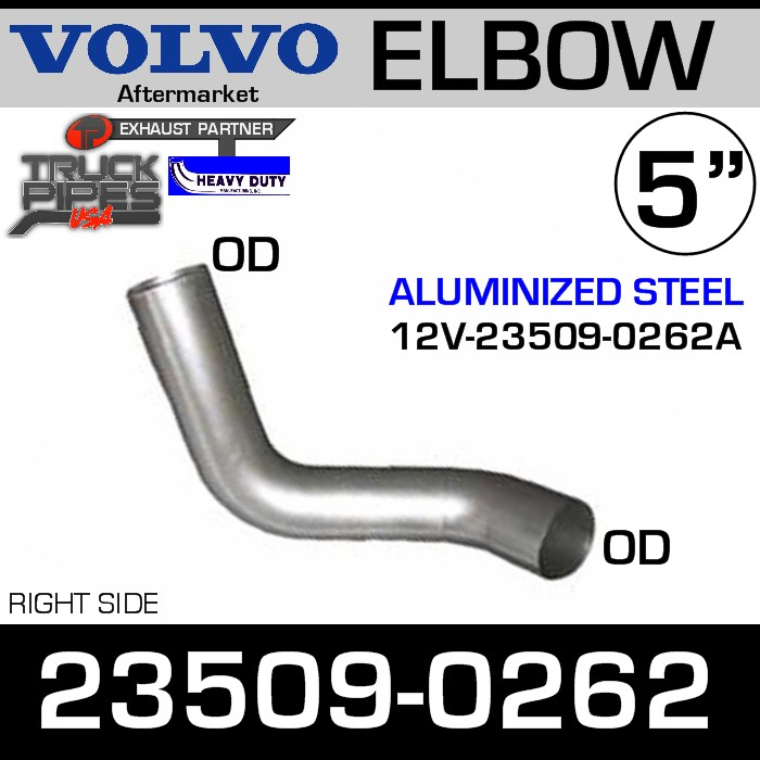 23509-0262 Volvo Right Side Muffler Pipe Elbow 12V-23509-0262A